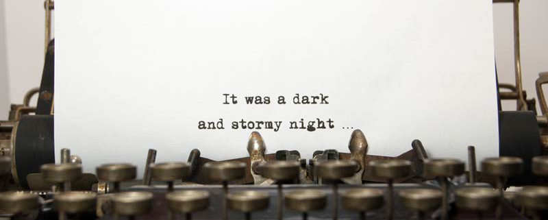 typewriter with cliche it was a dark and stormy night