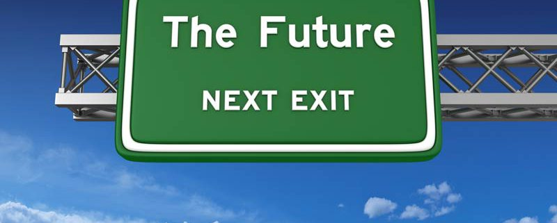 road sign with the future at the next exit